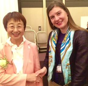 Sendai Mayor Emiko Okuyama and NYU School of Professional Studies Adjunct Professor Chloe Demrovsky, Executive Director of Disaster Recovery Institute International, attend the third United Nations World Conference on Disaster Risk Reduction in Sendai, Japan this month. More than 6,500 participants from around the world attended with the goal of finalizing a framework that outlines UN member states' commitment to worldwide resilience.